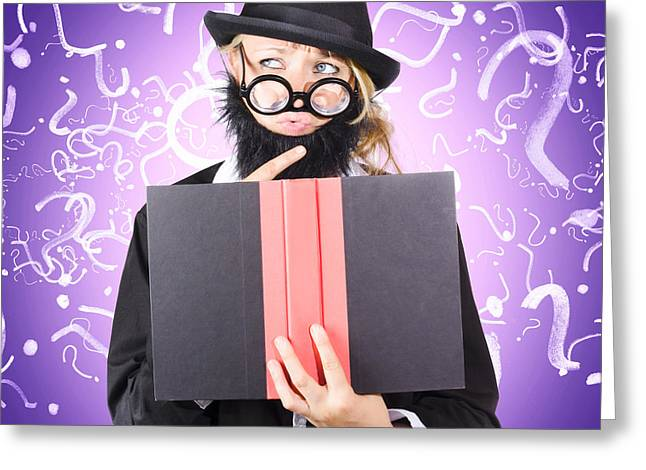 Question Man Reading Puzzle Solving Book Greeting Card by Jorgo Photography - Wall Art Gallery