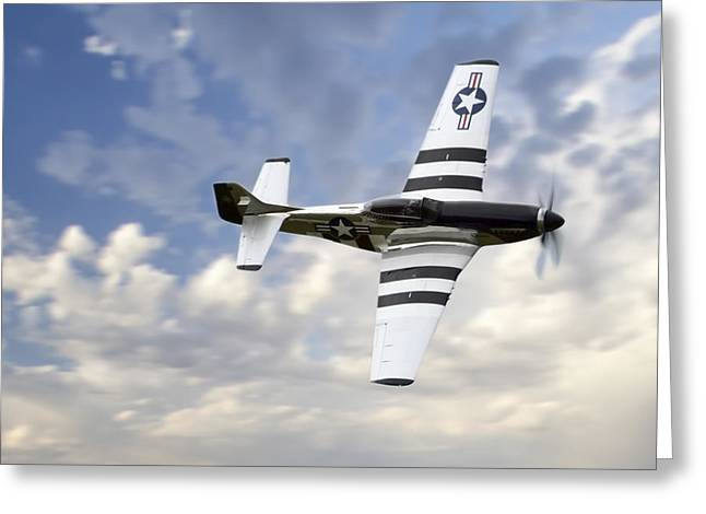Vintage Air Planes Greeting Cards - Quick Silver P-51 Greeting Card by Peter Chilelli