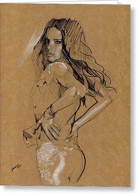 Figure Drawing Mixed Media Greeting Cards - Quick Sketch Greeting Card by Luis  Navarro