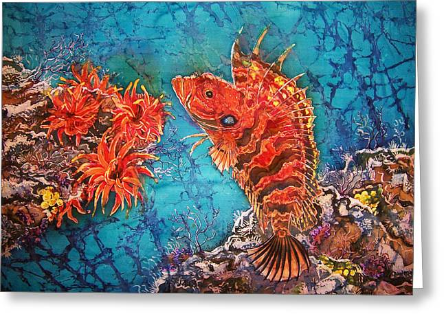 Sea Life Tapestries - Textiles Greeting Cards - Quillfin Blenny Greeting Card by Sue Duda