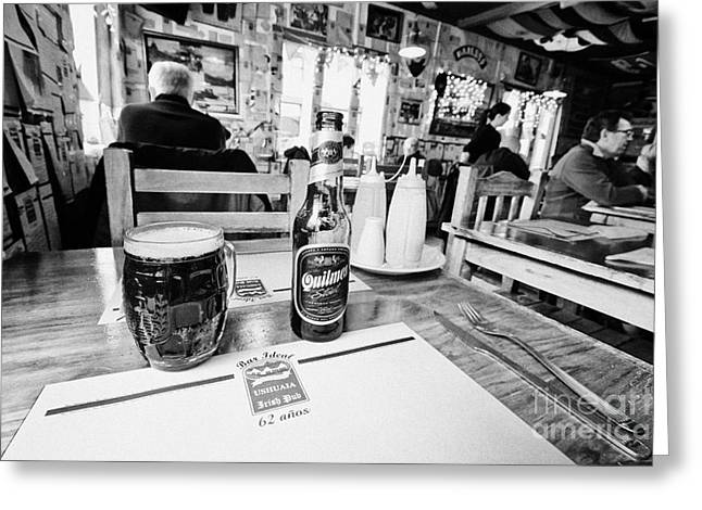 Cerveza Greeting Cards - quilmes stout at irish pub and restaurant Ushuaia Argentina Greeting Card by Joe Fox