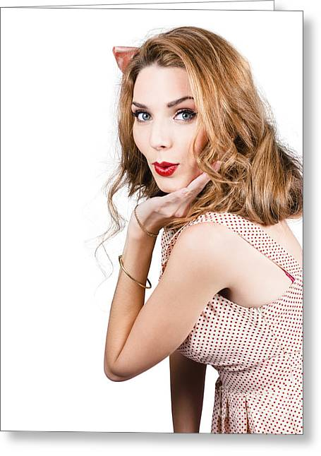 Eye Gestures Greeting Cards - Quirky portrait of a posing 50s girl in pinup style Greeting Card by Ryan Jorgensen