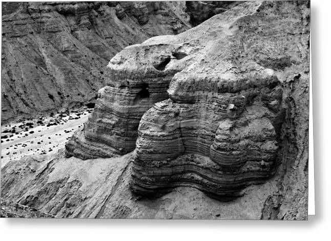 Paper Valley Greeting Cards - Qumran Cave 4 BW Greeting Card by Stephen Stookey