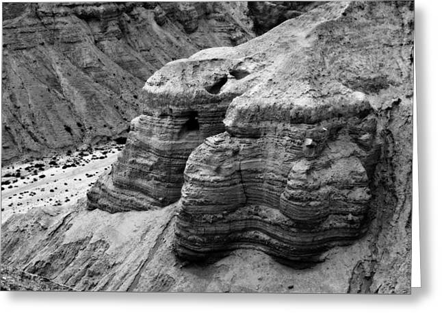 Qumran Cave 4 Bw Greeting Card by Stephen Stookey