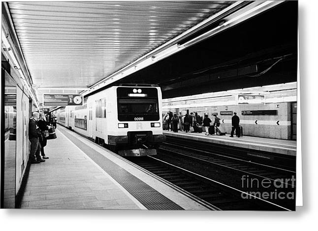 Catalunya Greeting Cards - R2 Rodalies de Catalunya train speeding through passeig de gracia underground main line train statio Greeting Card by Joe Fox
