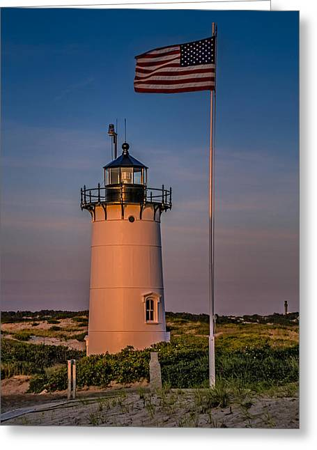 Pharaoh Greeting Cards - Race Point Lighthouse and Old Glory Greeting Card by Susan Candelario