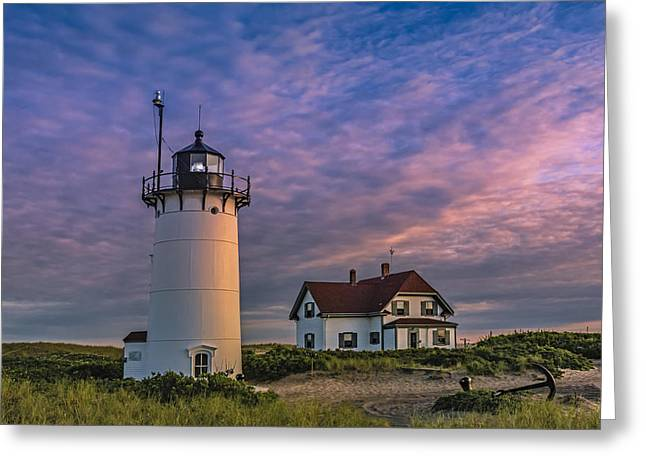 Keepers House Greeting Cards - Race Point Lighthouse Sunset Greeting Card by Susan Candelario