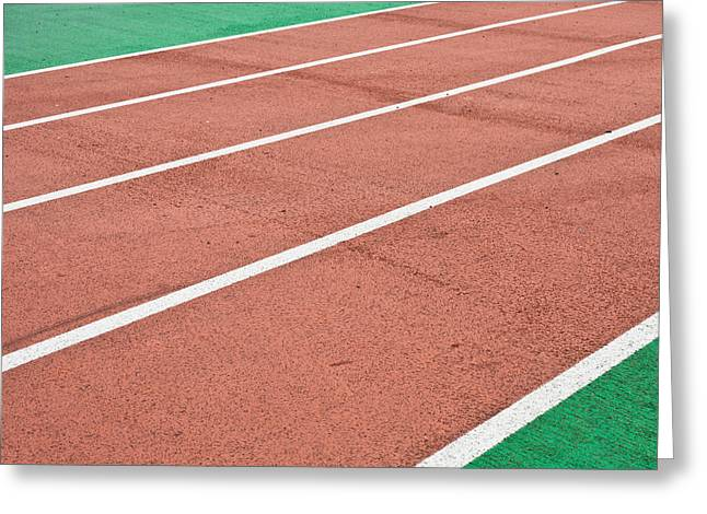 Marathon Greeting Cards - Racing track Greeting Card by Tom Gowanlock