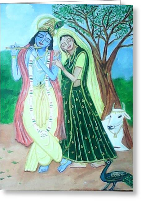 Gopala Greeting Cards - Radhakrishna Greeting Card by Suma GV