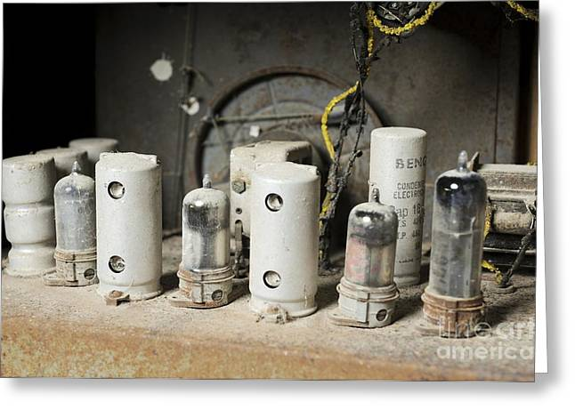 Vintage Appliance Greeting Cards - Radio Receiver Vacuum Tubes Greeting Card by PhotoStock-Israel