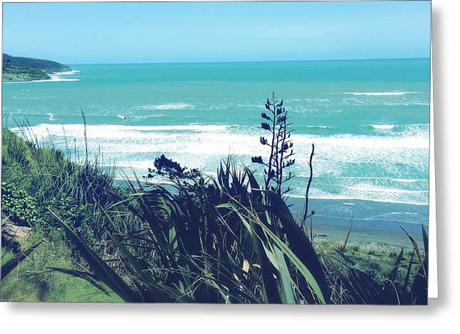 Ocean Landscape Greeting Cards - Raglan NZ Greeting Card by Les Cunliffe