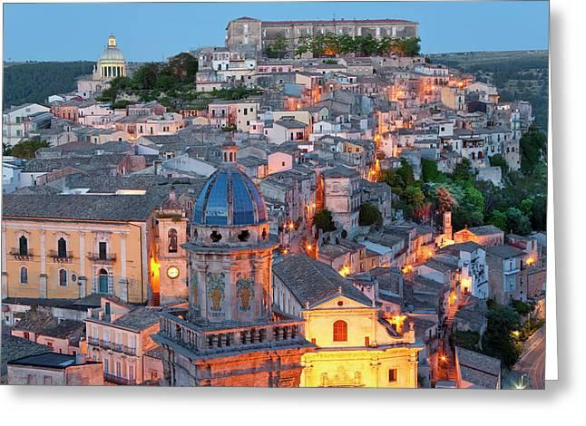Ragusa At Dusk, Sicily, Italy Greeting Card by Peter Adams