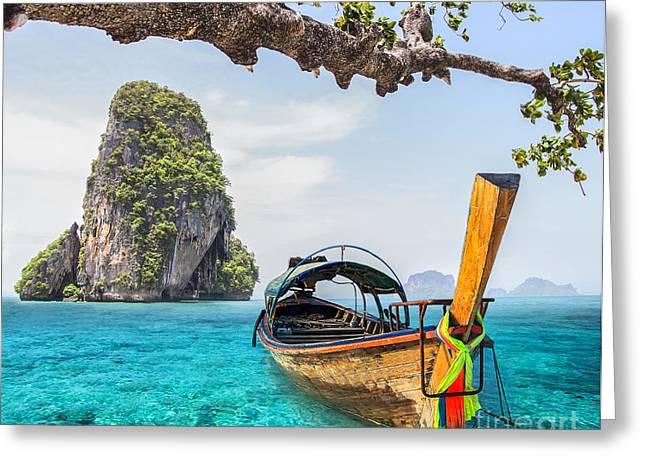 Sunday Picnic Greeting Cards - Railay beach Greeting Card by Anek Suwannaphoom
