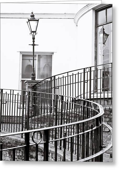 Enigmatic Greeting Cards - Railings and lamp Greeting Card by Tom Gowanlock