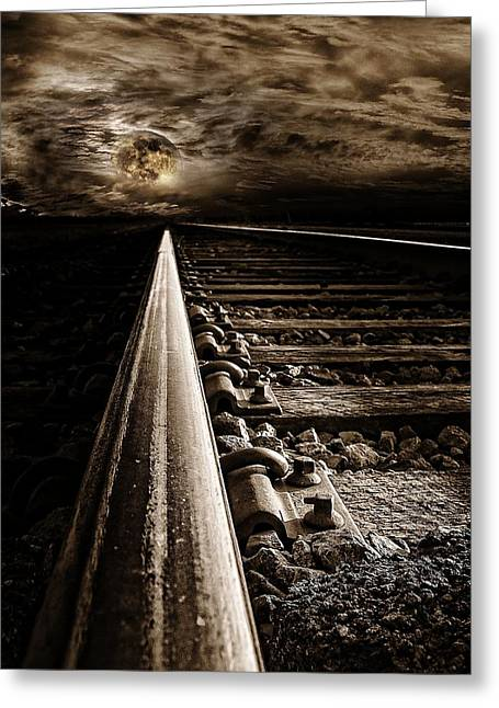 Rail Line Greeting Cards - Railroad To Moon Greeting Card by Tim Hayes