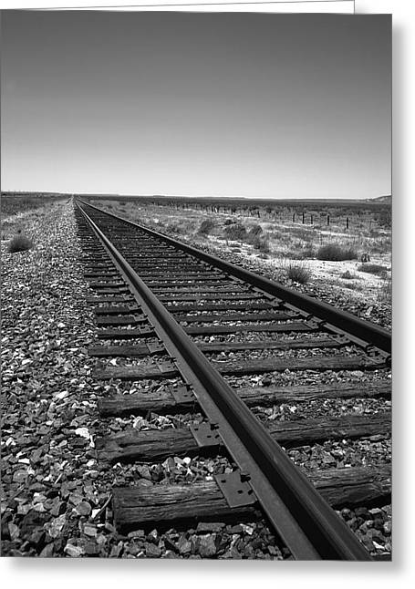 Classic American Railroad Greeting Cards - Railroad Tracks Greeting Card by Frank Romeo