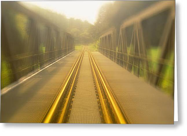 Diminishing Greeting Cards - Railroad Tracks Passing Greeting Card by Panoramic Images