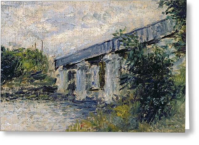 1874 Greeting Cards - Railway Bridge at Argenteuil Greeting Card by Claude Monet