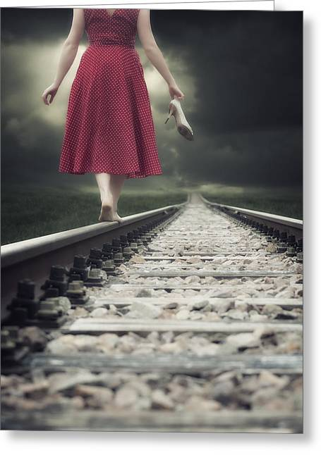 Shoeless Greeting Cards - Railway Tracks Greeting Card by Joana Kruse