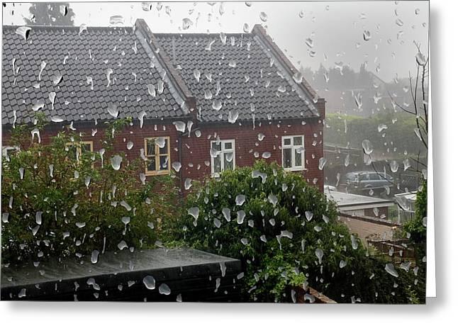Rain Drops On Window Greeting Card by Victor De Schwanberg