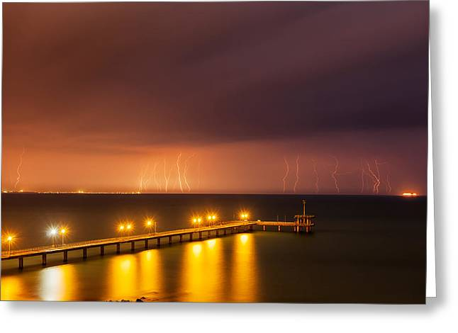 Black Sea Greeting Cards - Rain of Lightnings Greeting Card by Evgeni Dinev