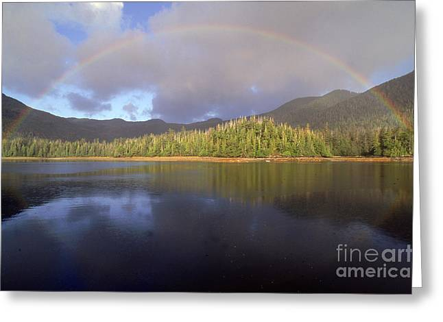 Mountain Valley Greeting Cards - Rainbow Greeting Card by Art Wolfe
