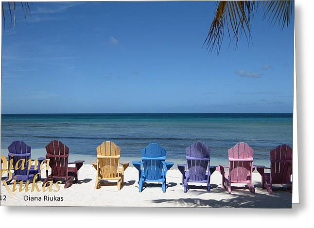 Diana Riukas Greeting Cards - Rainbow Color of Chairs Greeting Card by Diana Riukas