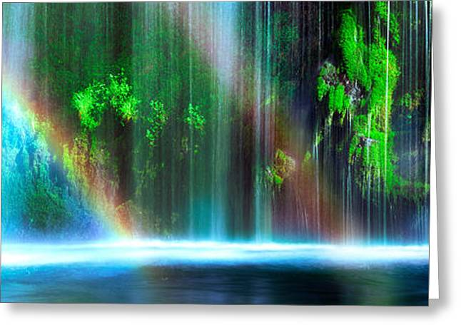 Siskiyou County Greeting Cards - Rainbow Formed In Front Of A Waterfall Greeting Card by Panoramic Images