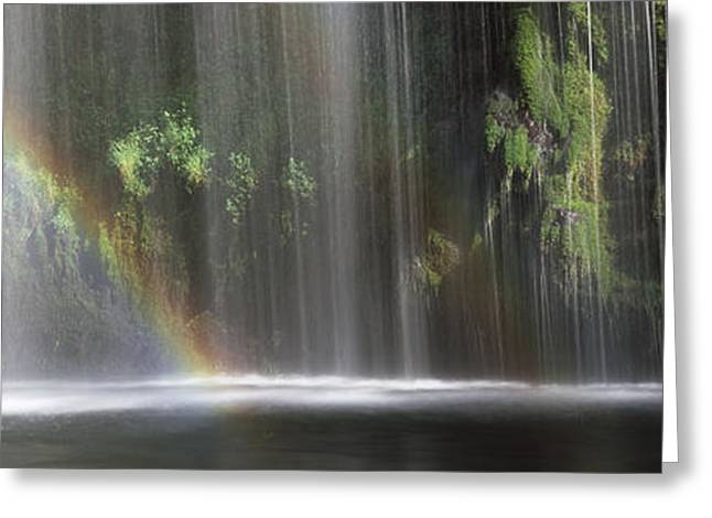 Double Rainbow Greeting Cards - Rainbow Formed In Front Of Waterfall Greeting Card by Panoramic Images