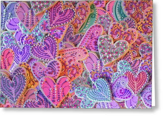 Rainbow Henna Heart Cookies Greeting Card by Alixandra Mullins