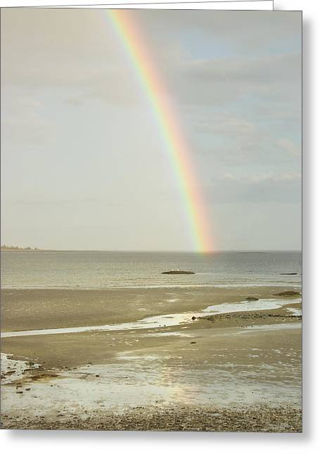 Maine Beach Greeting Cards - Rainbow Over the Coast Of Maine Greeting Card by Keith Webber Jr