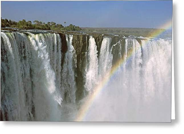 Zambezi River Greeting Cards - Rainbow Over Victoria Falls, Zimbabwe Greeting Card by Panoramic Images