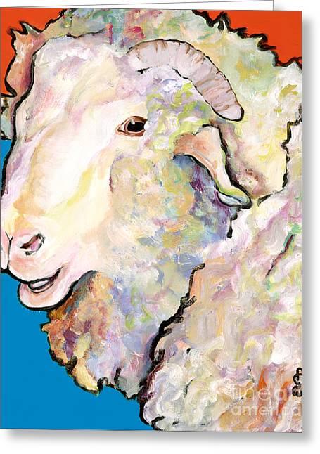 Rainbow Ram Greeting Card by Pat Saunders-White