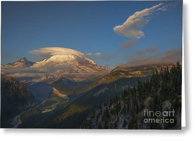 White River Greeting Cards - Rainier Capped Greeting Card by Mike  Dawson