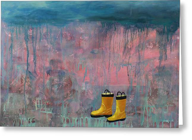 Dripping Paintings Greeting Cards - Rainy Day Galoshes Greeting Card by Guenevere Schwien