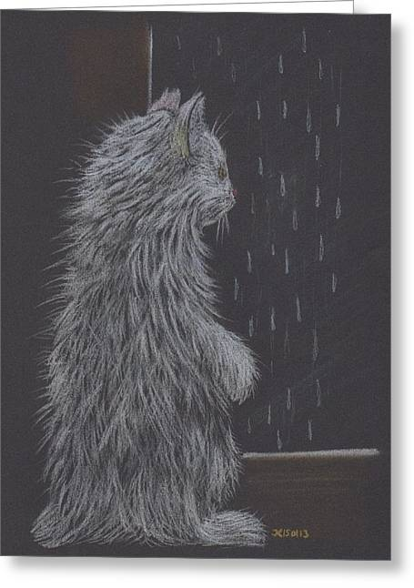 Cute Kitten Pastels Greeting Cards - Rainy Day Greeting Card by Inga Klein