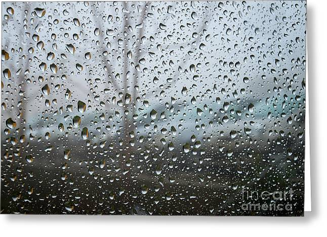 Rain Drop Greeting Cards - Rainy Day Greeting Card by Sinisa Botas