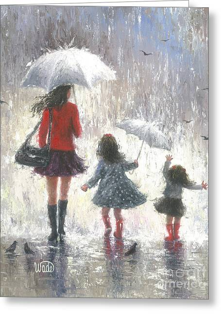 Vickie Wade Paintings Greeting Cards - Rainy Day Walk With Mom Greeting Card by Vickie Wade