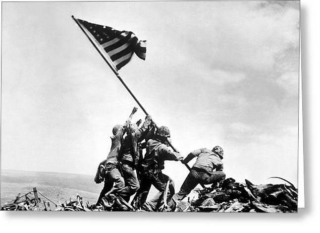 Ww2 Greeting Cards - Raising The Flag On Iwo Jima Greeting Card by War Is Hell Store