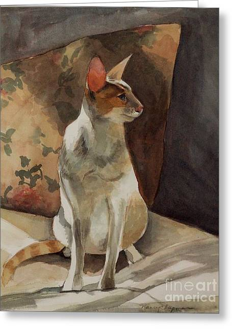 Red Point Siamese Greeting Cards - Raja Greeting Card by Nancy Kane Chapman