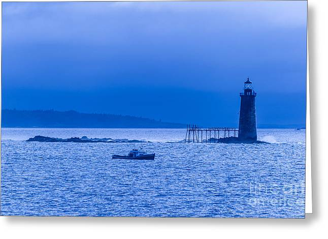 Maine Lighthouses Greeting Cards - Ram Island Ledge Lighthouse Greeting Card by Don Landwehrle