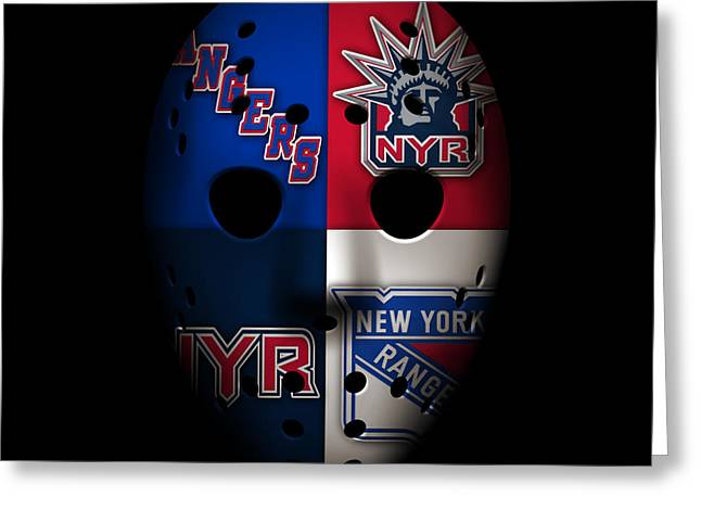 New York Rangers Greeting Cards - Rangers Goalie Mask Greeting Card by Joe Hamilton