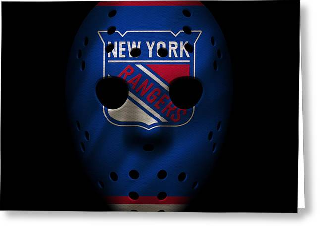 New York Rangers Greeting Cards - Rangers Jersey Mask Greeting Card by Joe Hamilton