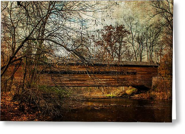 Enhanced Greeting Cards - Rapps Dam Covered Bridge Greeting Card by Judy Wolinsky