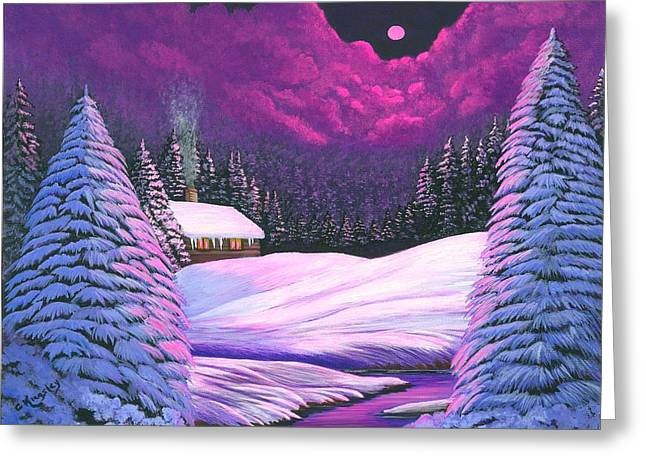 Cyndi Kingsley Greeting Cards - Raspberry Snow Greeting Card by Cyndi Kingsley