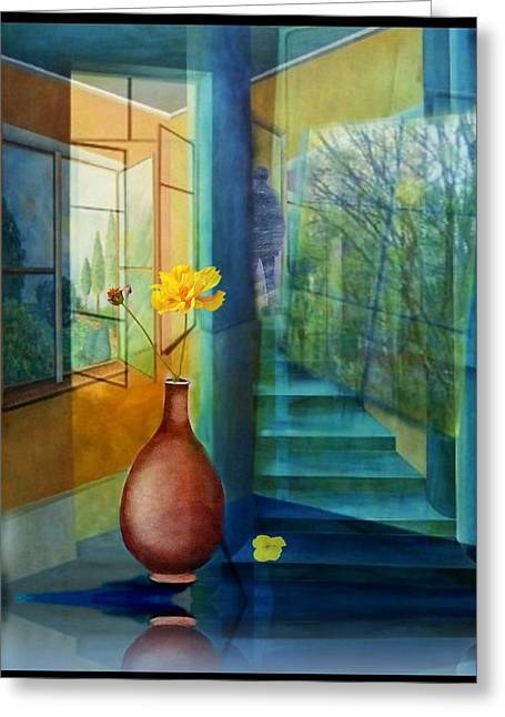 Fenster Mixed Media Greeting Cards - Raumirritation 29 Greeting Card by Gertrude Scheffler