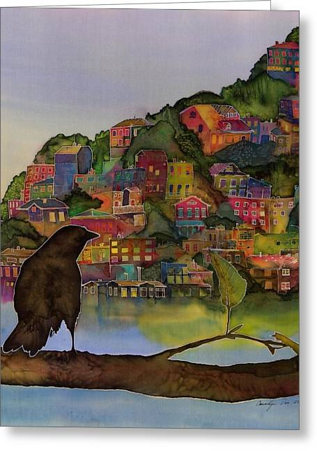 Silk Tapestries - Textiles Greeting Cards - Raven and the Village  Greeting Card by Carolyn Doe