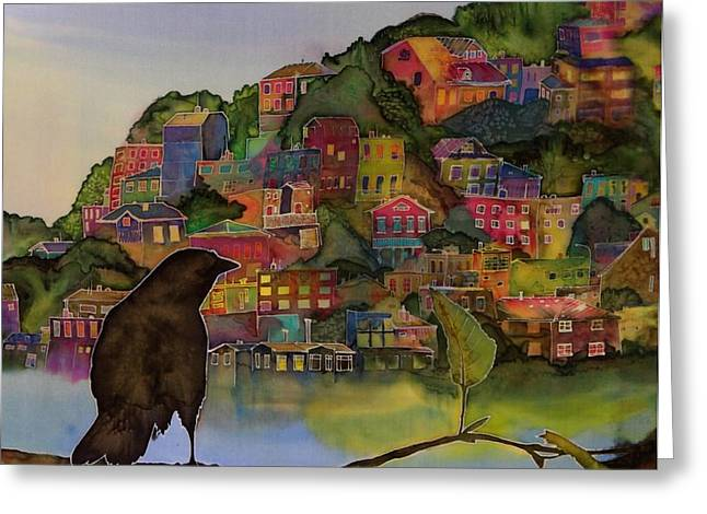 Raven and the Village  Greeting Card by Carolyn Doe