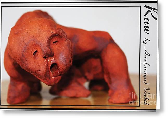 Man Sculptures Greeting Cards - Raw Greeting Card by Anastasiya Verbik