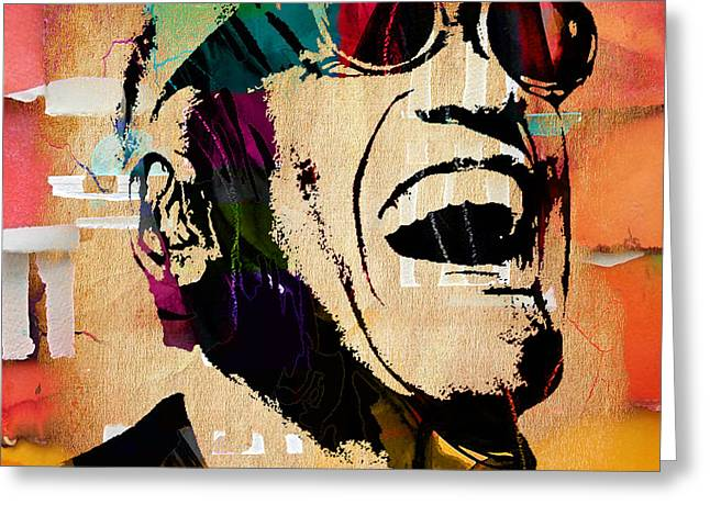 Recently Sold -  - Pop Singer Greeting Cards - Ray Charles Collection Greeting Card by Marvin Blaine